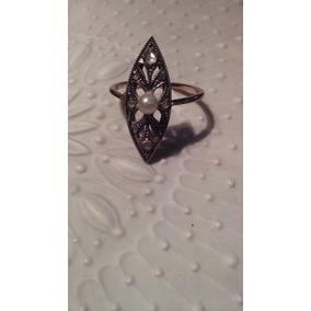 Oportunidad Anillo Antiguo De Oro 18k Con Perla Y Diamantes