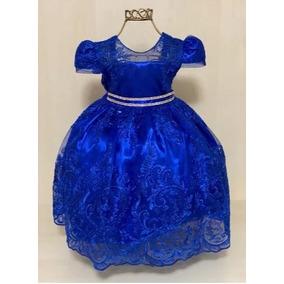 2e636229d4 Vestido Festa Pink Infantil - Vestidos Meninas Azul no Mercado Livre ...
