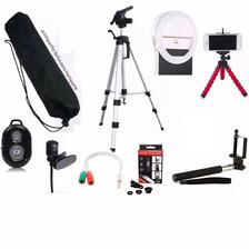 Tripe 1,20  Anel Led Ring Light + Kit Youtuber Para Celular