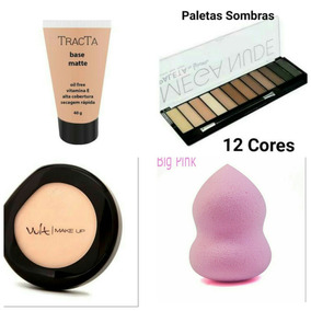 Kit Base Tracta Matte+pó Compacto+paleta De Sombra+esponja