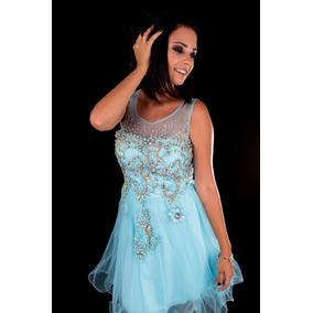 Vestido Curto Debutante/ 15 Anos Azul Tiffany/-pronta Entreg