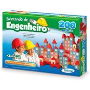 Brinquedo Pedagógico Madeira Engenheiro 200 Pç Xalingo
