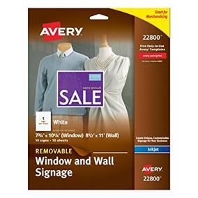 Avery 22800 Retail Signage Para Impresora Inkjet, 10 Hojas,