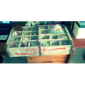 Antigüo Cajon De Madera Para 24 Botellitas Coca Cola