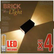 Aplique Pared Interior Bidireccional Lampara Led 10w Pack X4