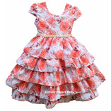 Vestido Festa Infantil Floral Luxo 4 A 16 Anos Com Tiara