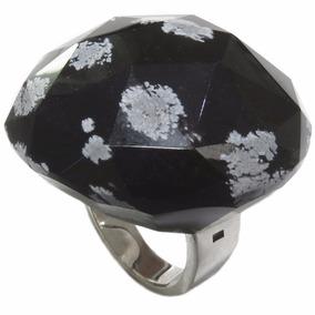 Anel De Prata 950 Com Pedra Natural Preta - A019-020