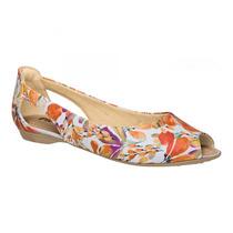 Sapatilha Feminina Piccadilly Napa Floral Peep Toe 707029