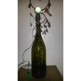 Antiguo Velador Hecho Con Gran Botellon E Interuptor Porcela