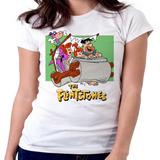 Blusa Camiseta Feminina Baby Look Flinstones Carro Fred Vilm
