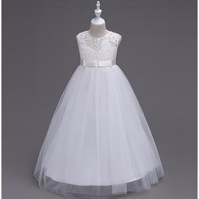Vestido Festa Branco Menina Daminha Primeira Comunhão