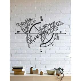 Quadro Decorativo Parede Mapas Bússola Flor Da Vida 90cm