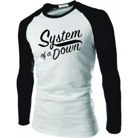 Camisa Camiseta System Of A Down Raglan Manga Longa Rock