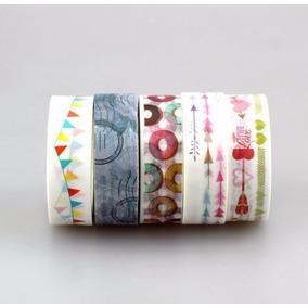 Washi Tape Fita Colorida 80 Modelos 10 Metros Unitário