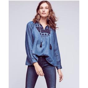 Diseño. Camisa Bordada Algodón Fino Denim Blusa Mujer Retro