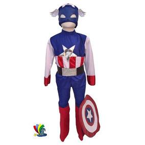 Disfraz Capitan América Avengers Para Niño Con Escudo