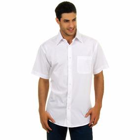 Camisa Social Masculina Blusa Manga Curta Preta Branca