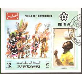 Bloco Yemen Copa Do Mundo México 1970, Carimbado. Excelente.