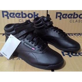 Tênis Reebok Freestyle High Top Black Sneaker Retro Preto.