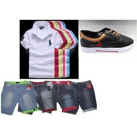 Conjunto Infantil 1 Camisa+1 Short+tenis Infantil Masculino