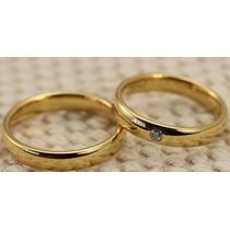Par De Aliança Aço Inox 4mm Dourada Banhada Ouro Casamento