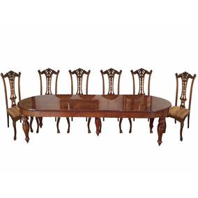 Mesa De Jantar Madeira Estilo Clássico Com Cadeiras