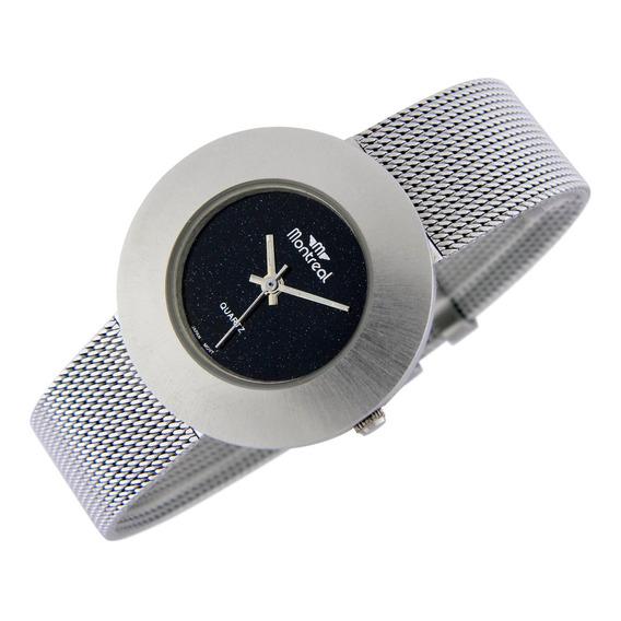 Reloj Montreal Mujer Ml768 Malla De Acero Inoxidable Tejida