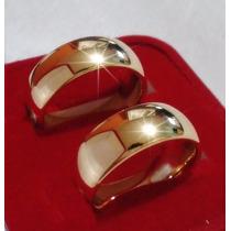 Par Alianças De Casamento Folheada Ouro 18 K 8mm +brinde Top