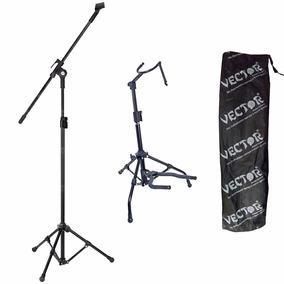 Pedestal P/ Microfone + Suporte Para Violão Guitarra Baixo