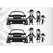2x Adesivos Família Feliz Casal E Carro Turbo - 23x9cm Cada