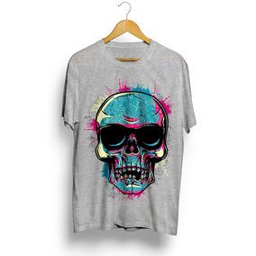 2677da7295 Camiseta Masculina Swag Caveira Skull Floral Rave