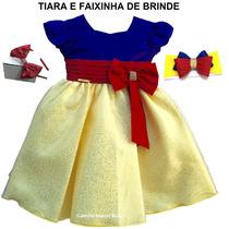 Vestido Infantil De Festa Branca De Neve Com Tiara E Faixa