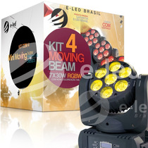 Kit 4 Mini Moving Head Beam 7x30w 200w Rgbw Quadri Led Cree