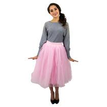 Falda Tutu De Tul Con Corte Midi Color Rosa