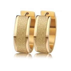 Brinco Argola Médio Grosso Banhado Ouro 18k Elegante 1cm