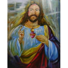 Quadro Decorativo Pintado À Mão !sagrado Jesus 70x90