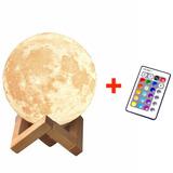 Moonlight Luna 3d Lampara Luz Led 16 Colores 8cm + Remoto