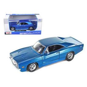 Miniatura Dodge Charger 1969 Rt Azul 1 25 Colecao Metal