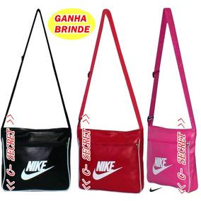 Bolsa Feminina Alça Transversal Modelo Nike Preta + Brinde