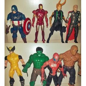 Pack 8 Bonecos -vingadores, Aranha, Coisa, Wolverine, Loki