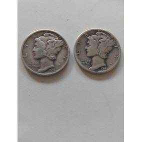 Moneda 10 Centavos Mercury Plata Ley 900 1941 Y 1945