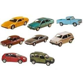 Coleção Com 8 Carros Brasileiros Miniatura Metal 11 Cm