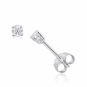 Aretes En Oro 14k Con Diamantes Naturales Blancos De 20 Pts