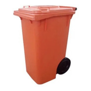 Container De Lixo 240 Litros C/ Rodas - Laranja