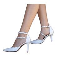 Sapato Scarpin Salto Alto Fino Branco Noiva Casamento Festa