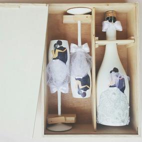 caja para las copas de champaa y botella de vino blanco - Cajas De Vino Decoradas