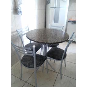 Mesa De Jantar 4 Cadeiras Tampo De Mármore