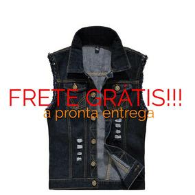 Colete Jeans Masculino Rasgado, Rock Luxo Pronta Entrega Top