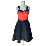 Vestido Pin Up Lunares Negro Rojo Estilo Vintage Retro