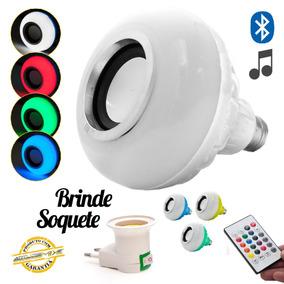 Lâmpada Led Rgb Bluetooth Controle Remoto Caixa De Som 6w